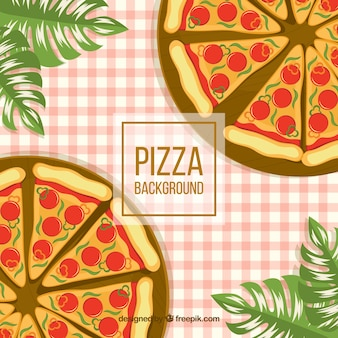 Background of pizzas on and tablecloth