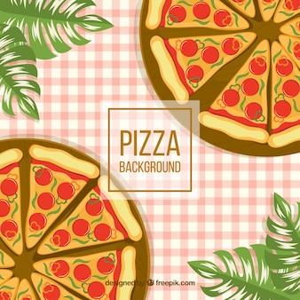 Sfondo di pizze e tovaglia