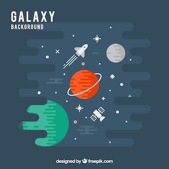 Sfondo dei pianeti in disegno piatto e razzo