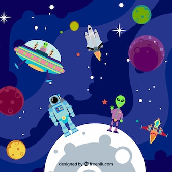 Background of planets with astronaut and alien Free Vector