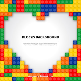 Background of plastic pieces forming a heart