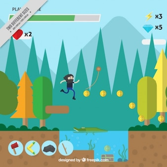 Sfondo di piattaforma video gioco con un paesaggio in design piatto