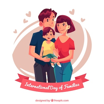 Background of pretty family with a son Premium Vector