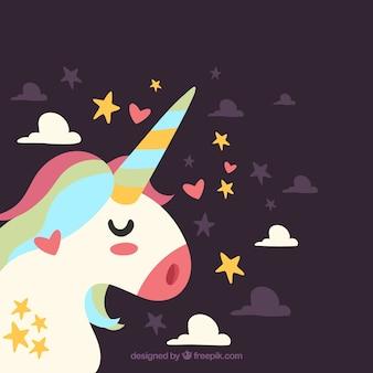 Sfondo di unicorno bella profilo