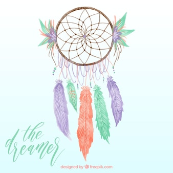 Background of pretty watercolor dream catcher