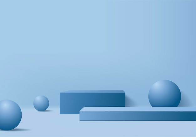 Background products display podium scene with geometric platform. background   rendering with podium. stand to show cosmetic products. stage showcase on pedestal display blue studio
