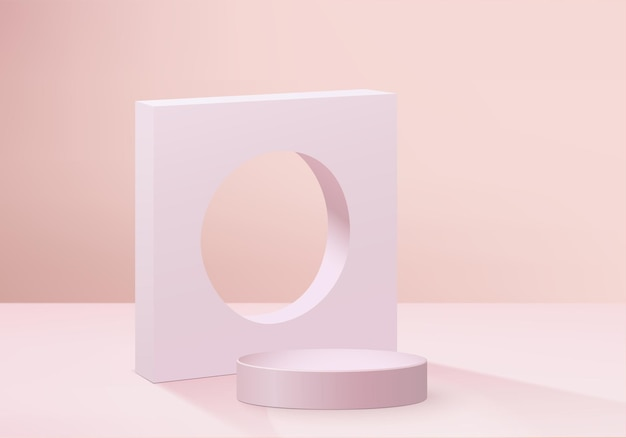 Background products display podium scene with geometric platform. background   rendering with podium. stand to show cosmetic products. stage showcase on pedestal display pink studio