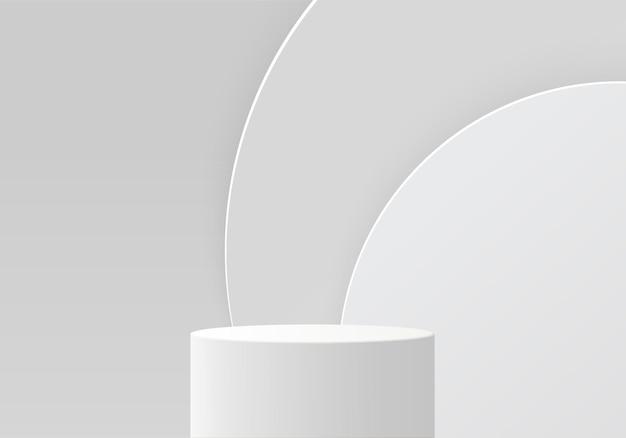 背景製品は、幾何学的なプラットフォームで表彰台のシーンを表示します。表彰台での背景レンダリング。化粧品を展示するスタンド。台座ディスプレイホワイトスタジオのステージショーケース