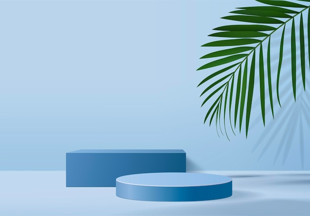 Background products display podium scene with green leaf geometric platform. background   render with podium. stand to show cosmetic products. stage showcase on pedestal display blue studio