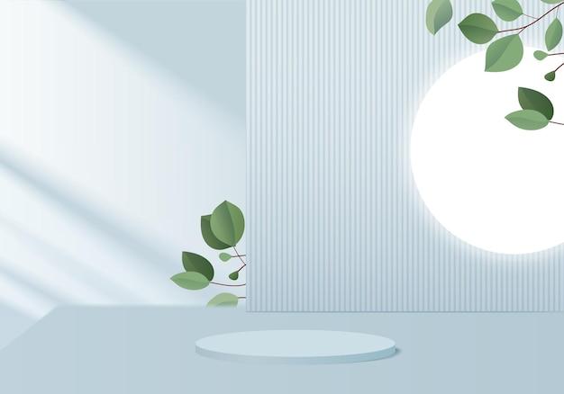 背景製品は、緑の葉の幾何学的なプラットフォームで表彰台のシーンを表示します。表彰台で背景レンダリング。化粧品を展示するスタンド。台座ディスプレイブルースタジオのステージショーケース