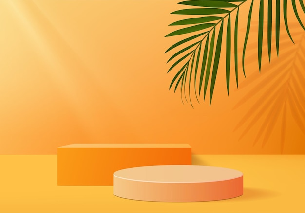 Background products display podium scene with leaf geometric platform. background   rendering with podium. stand to show cosmetic products. stage showcase on pedestal display orange studio