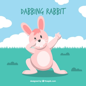 Background of rabbit doing dabbing movement