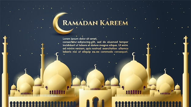 Background of ramadan kareem with gold mosque illustration with gold writing.
