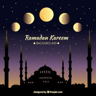 Sfondo di ramadan kareem con fasi lunari