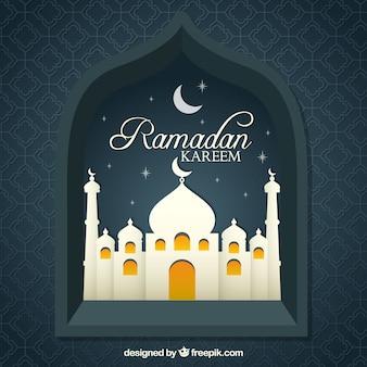 Sfondo di finestra kareen di ramadan con moschea