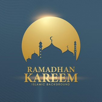 The background of ramadhan kareem in a luxurious style of gold and tosca colors