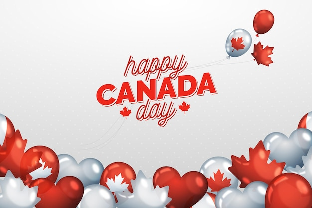 Background of realistic national canada day and balloons