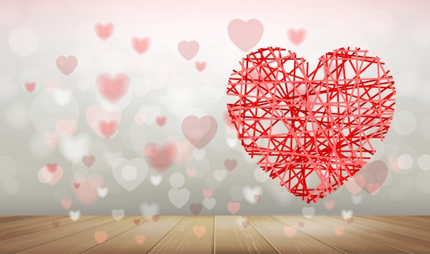 Background of red heart with light blurred bokeh.