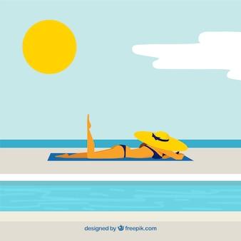 Sfondo di donna rilassata sulla spiaggia