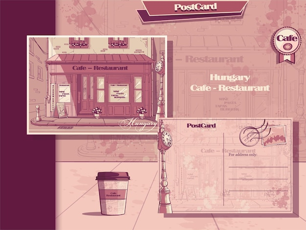 Background retro style cafe of hungary. post card and flyer.