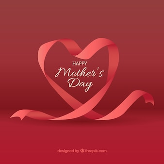 Background of ribbon with heart-shaped for mother's day