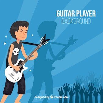 Background of rocker boy with guitar
