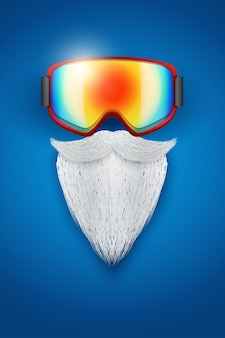 Background of santa claus symbol with ski goggles and white beard.