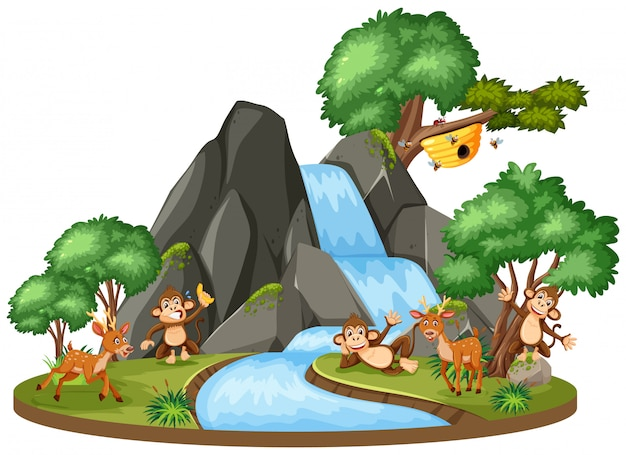 Background scene of animals by the waterfall