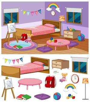 Background scene of bedroom with many furnitures