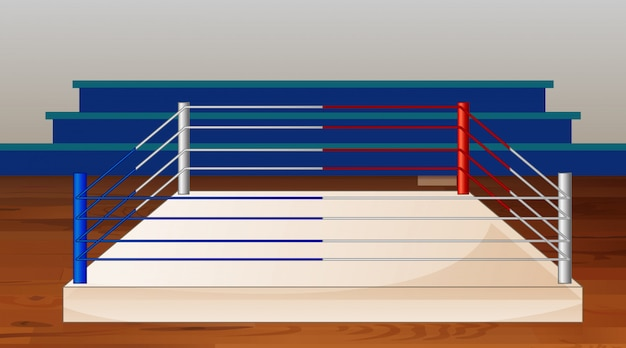 Background scene of boxing ring with stadium