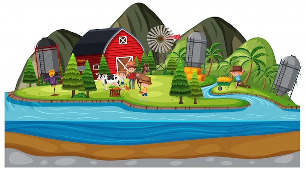 Background scene of farmers and animals on the farm