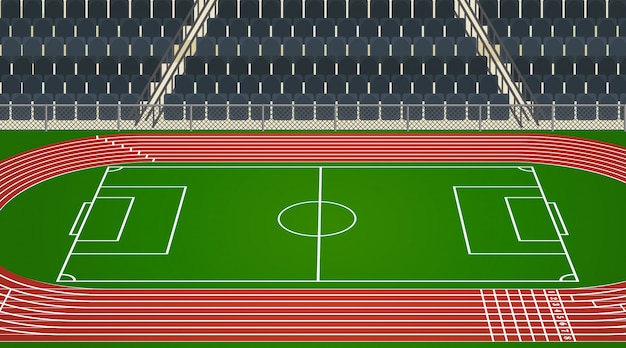 Background scene of football field and stadium