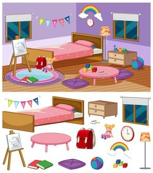 多くの家具が付いている寝室の背景シーン