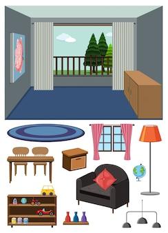 Фоновая сцена пустой комнаты и набор мебели