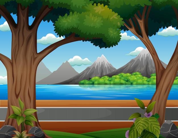 Фоновая сцена дороги на берегу реки