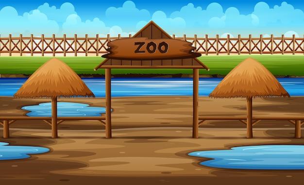 池のイラストと動物園公園の背景シーン