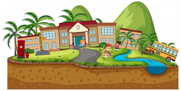 Background scene of school buildings