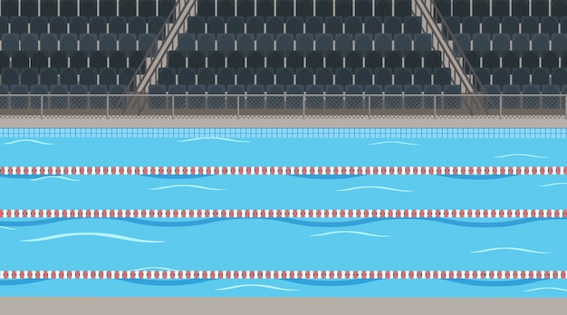 Background scene  of swimming pool with stadium