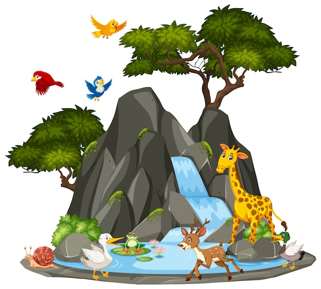 Background scene of wildlife animals and waterfall