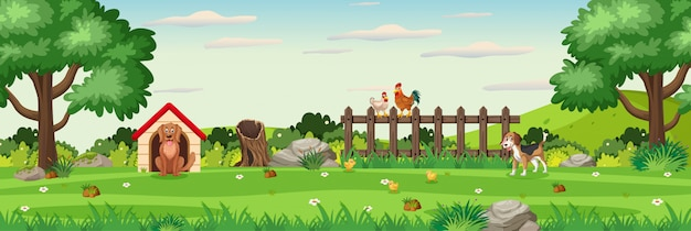 Background scene with animals in the park