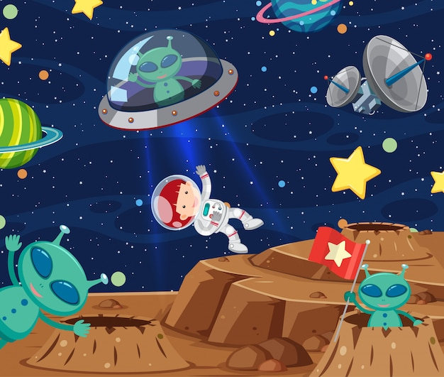 Background scene with astronaut and aliens in the space