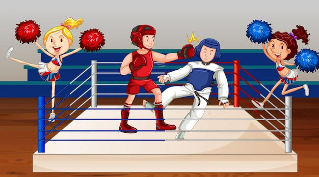 Background scene with athletes fighting on the ring