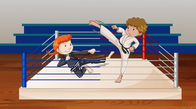 Background scene with athletes fighting in the ring