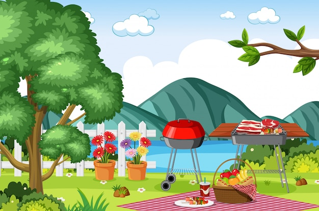 Background scene with bbq in the park