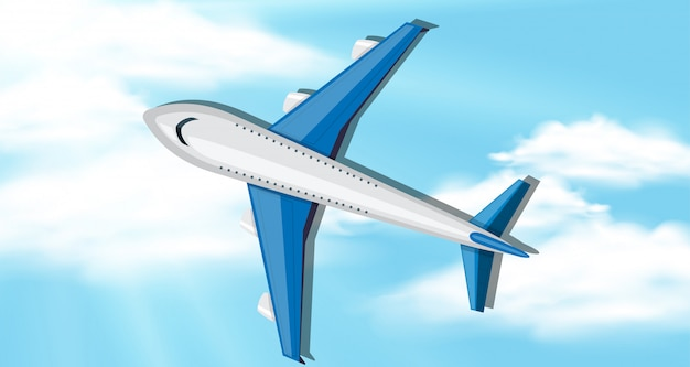 Background scene with blue sky and airplane