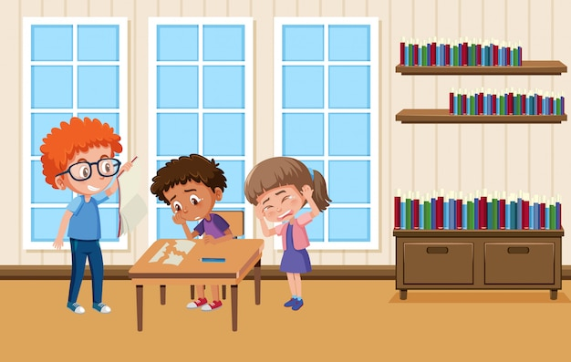 Background scene with boy bullying his friends at school