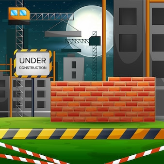Background scene with a building construction site
