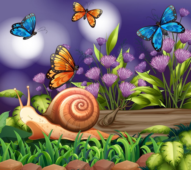 Background scene with butterflies in garden