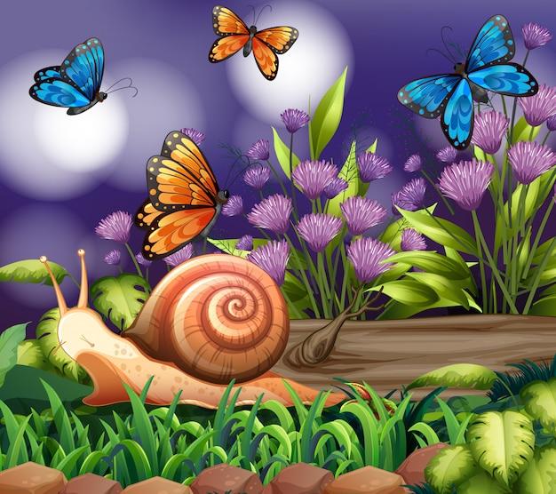 정원에서 나비와 배경 장면