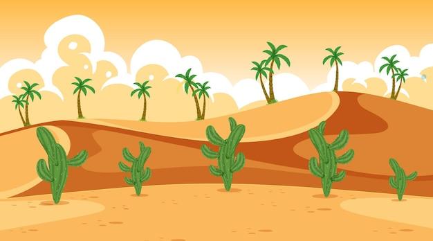 砂漠のサボテンの背景シーン